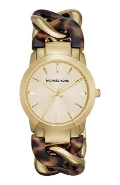 Michael Kors Lady Nini Chain Link Bracelet Watch (Tortoise and Gold) - Nordstrom Anniversary Sale Mk Handbags, Handbags Michael Kors, Michael Kors Outlet, Michael Kors Watch, Look Fashion, Womens Fashion, Handbag Stores, Mk Bags, Nordstrom Anniversary Sale