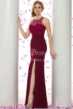 Burgundy Floor Length Illusion Lace Chiffon Mermaid Prom Dress Side Slit