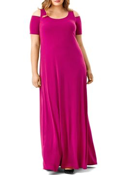 With front-and-back scooped necklines and cold-shoulder cutouts, all eyes will be drawn to your radiant face in this effortlessly elegant maxi cut from fluid jersey in rich red or ever-chic black.