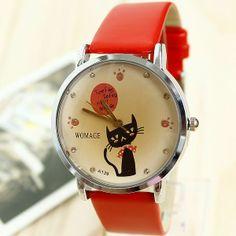Relogio Feminino Fashion Leather Strap Watches  Cute Cartoon Cat Rhinestone Bracelet Women Dress Watch Reloj Mujer Free Shipping $9.99