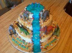 Dinosaur Waterfall Cake