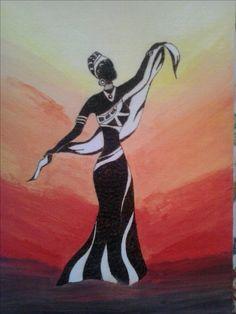 Danzatrice Africana personaggio pirografato e sfondo dipinto con colori acrilici
