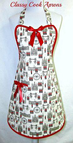 Apron LONDON in Red Black & White, BIG BEN, London Bridge, by ClassyCookAprons, $36.50