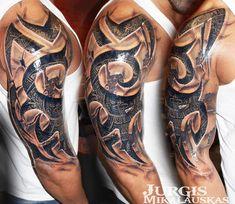 Perfect black and gray tattoo art of Tribal idea done by artist Jurgis Mikala. - Perfect black and gray tattoo art of Tribal idea done by artist Jurgis Mikala. Perfect black and gray tattoo art of Tribal idea done by artist Jurgis Mikalauskas Tribal Tattoo Cover Up, Tribal Tiger Tattoo, Tribal Tattoo Pictures, Cool Tribal Tattoos, Full Sleeve Tattoo Design, Tribal Sleeve Tattoos, Tribal Tattoo Designs, Gray Tattoo, Dj Tattoo