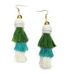 Tiered Tassel Earrings in Turquoise/Green/White