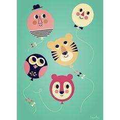 L'affiche Ballons est idéale en décoration dans la chambre de votre enfant. C'est un cadeau de naissance original.