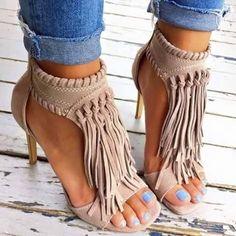 9009e00ff0aa AZMODO Solid Color Tassel Stiletto Sandals Louboutin Schuhe, Glitzer  Schuhe, Kunstleder, Damen Schuhe