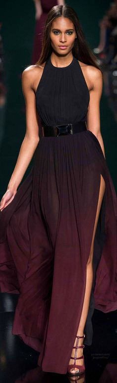 Fall 2014 Ready-to-Wear Elie Saab black burgundy plum ombre belted jewel neck halter gown with high slit
