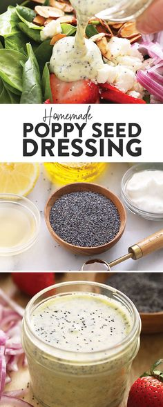 dressing ready in no time! Greek Yogurt Salad Dressing, Lemon Poppy Seed Dressing, Yogurt Salad Dressings, Poppy Seed Dressing Healthy, Greek Salad Recipes, Salad Dressing Recipes, Healthy Salad Recipes, Healthy Meals, Healthy Eating