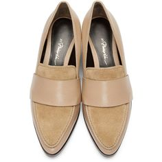 3.1 Phillip Lim Beige Quinn Loafers (2.581.410 IDR) ❤ liked on Polyvore featuring shoes, loafers, loafers moccasins, penny loafer shoes, loafer shoes, 3.1 phillip lim and penny loafers