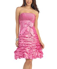 Hot Pink Ruched Strapless Dress & Shawl - Plus Too