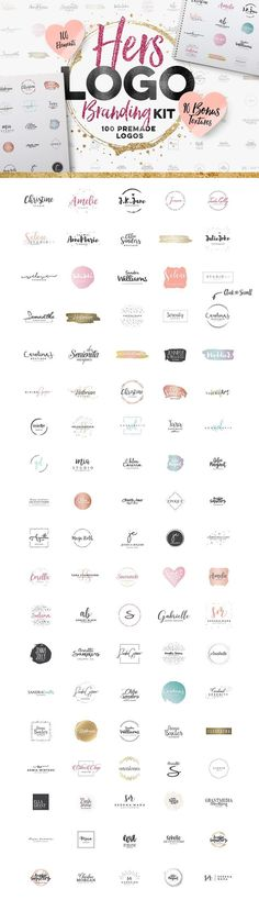 Feminine logo design kit. 100 premade logos with bonus textures. Beautiful, creative designs for blog, web or business branding.