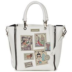 This grained #leather #tote designed by Barbara Rihl features printed patches on the front, a zip fastening and two leather handles. It has a zipped inner pocket, a leather detachable and adjustable shoulder straps and four studs on the bottom. #bag #purse #shopper #women #fashion #white #holiday
