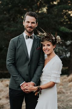 SKYE + PATRICK // #wedding #bride #groom #dress #suit #gown #love #happy #headpiece #crown #style #hellomay #realwedding