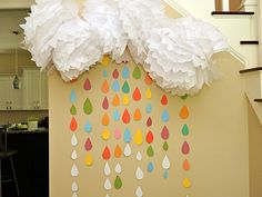 Rainbow Raindrop Sprinkle Wall for a Twins Gender Neutral Baby Sprinkle - absolutely adorable!