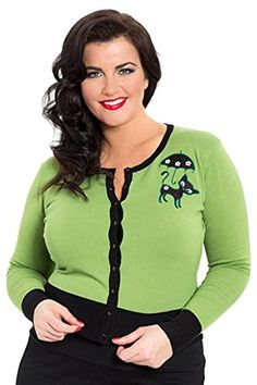 Voodoo Vixen – Women's Clarissa Gorgeous Green Front Buttoned Cardigan PL - See more at: http://45.gs/ey59