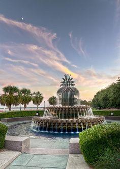 Pineapple Fountain Sunset - Charleston SC