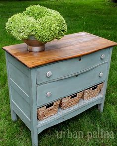 Great way to repurpose an old dresser that has a drawer that is beyond repair. This could go in the entry or be used as a bedside table or a sideboard in the dining room.