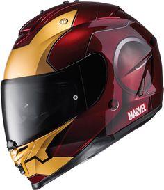 Ce casque HJC IS-17 profite de graphismes Iron Man sous licence Marvel