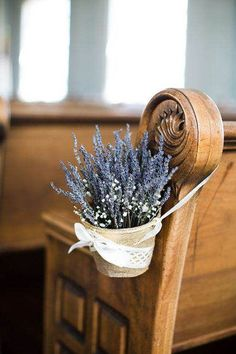 For you church wedding decorations, you can set hanging arrangement with rustic basket of lavenders to accentuate the aisle. Even, the lavender itself will bring good vibes to your wedding since it has the meaning of love and devotion. Wedding Pews, Wedding Chairs, Rustic Wedding, Lilac Wedding, Glamorous Wedding, Wedding Flowers, Fall Wedding, Church Wedding Decorations, Wedding Chair Decorations