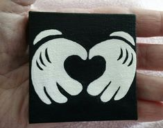 "My tiny 2"" wood framed canvas acrylic painted picture of Mickey Mouse's hands, forming a heart. i finished it today :-)"