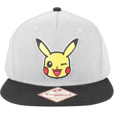 Nintendo Pokemon Pikachu Chambray Snapback Hat ($18) ❤ liked on Polyvore featuring accessories, hats, gray hat, grey hat, embroidered hats, nintendo hat and embroidered snapback hats