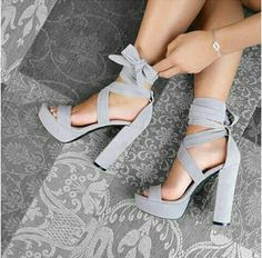 stacked heel with a platform