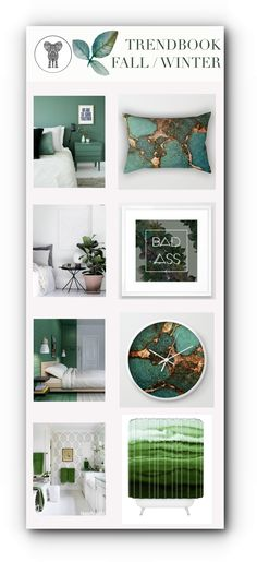 Green is the trend color for the upcoming season ! Find easy the best green designs for home decor products in my shops at Society6 and Deny Designs!  Pillows, duvets, rugs, artprints, showercurtains, towels, wallclocks, mirrors .... everything you`re looking for!