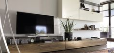 Wohnwand / Nussbaum / Glas / hochglanzlackiertes Holz NOW! Tv Furniture, Furniture Design, Furniture Ideas, Contemporary Entertainment Center, Living Tv, Modern Living, Living Rooms, Concept Home, Home Theater Design
