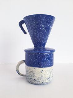 WITTMORE — BTW Ceramics — BTW Ceramics Blue Speckled Ceramic Pour Over