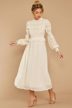 Simply Wishing For Ivory Midi Dress Ivory Dresses, Modest Dresses, Pretty Dresses, Sexy Dresses, Vintage Dresses, Casual Dresses, Fashion Dresses, Dresses For Work, Dress Outfits