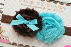 Double shabbyTurqouise/Brown shabby's on by DanicasChicBowtique, $9.00