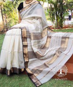Stunning Handloom Maheshwari Saree with Woven Border