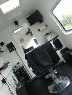 The Barber Van Ltd Barber Shop Interior, Barber Shop Decor, Mobile Hair Salon, Barber Shop Chairs, Mobile Barber, Barber Haircuts, Barbershop Design, Home Salon, Vans Shop