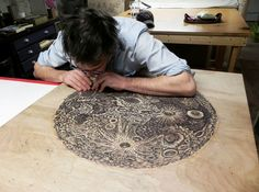 "Tugboat Printshop: ""The Moon"" Woodcut Print Artist at work Linocut Prints, Poster Prints, Colossal Art, Print Artist, Art Plastique, Woodblock Print, Wood Print, Artist At Work, Printmaking"