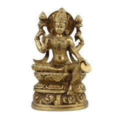 Amazon.com: Lakshmi Idol Goddess Hinduism Belief Statue And Sculpture; Brass; 4.75 X 2.5 X 8 Inches: Home & Kitchen