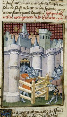 Harley 4431 fol 135v detail (Seige of Babylon). Paris, France 1410-1414.