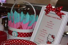Hello Kitty Red, Pink & Aqua Birthday Party Ideas | Photo 10 of 32 | Catch My Party