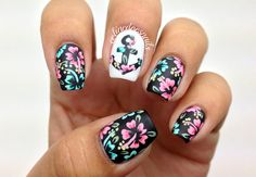 Nailpolis Museum of Nail Art | Floral Anchor Nail Art by Celine Peña