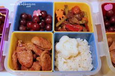 Teacher appreciation lunch! Sauteed spicy Italian sausage with jasmine rice onigiri,roasted veg in balsamic butter and grapes from bentobloggy.com