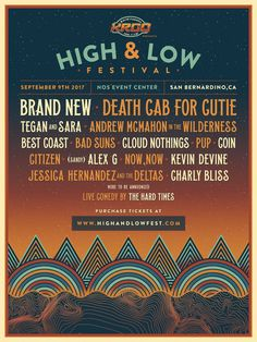 Death Cab For Cutie  –  DCfC to perform at High & Low Festival
