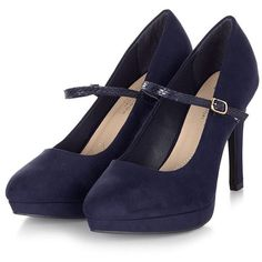 Navy Wide Fit Comfort Rainy Mary Jane Court Shoes ($38) ❤ liked on Polyvore featuring shoes, pumps, wide pumps, high heel shoes, navy leather pumps, leather pumps and navy blue shoes