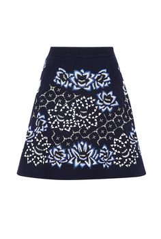 PRODUCT CODE: 764131 Navy Lotus Skater Skirt By Anhha #AW14 #MYWtrends #Embellishment