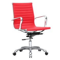Fine Mod Imports FMI1160-red Modern Conference Office Chair Mid Back, Red