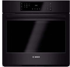 Bosch 800 Series 30 Inch Electric Single Wall Oven with cu. Capacity, EcoClean Self-Clean Cycle, Genuine European Convection, Meat Probe and Extra Large Door Window in Black Bosch Appliances, Kitchen Appliances, Single Wall Oven, Electric Wall Oven, Star K, Appliance Sale, Oven Racks, Heating Element, Telescope