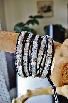 FULL MOON 5 Wrap Leather Bracelet, Opalite Moonstone,Pearls,Swarvoski Crystals,Czech Glass,Japanese Miyuki Delicas/Tila Beads,Silver