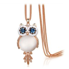 Crystal Vintage big opal Owl Pendants long sweater chain Necklace  #Jewelry #Deal #Fashion