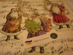 6 German #Vintage inspired #Santas with tinsle by @fourthwish on Etsy, $6.00