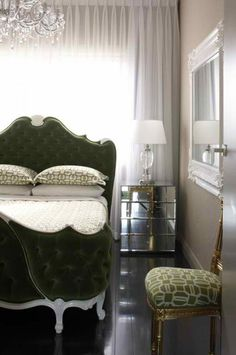 Can you believe that bed? by Greg Natale Design featured on The Design Files Glam Bedroom, Home Bedroom, Bedroom Decor, Design Bedroom, Master Bedroom, Green Bedding, Bedroom Green, The Design Files, Beautiful Bedrooms