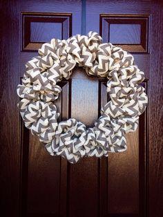 "Chevron Bubble Burlap Wreath - Charcoal/White  - 21"" on Etsy, $40.00"